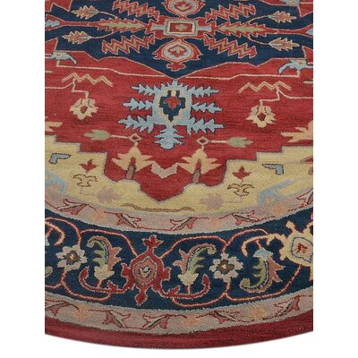 Totternhoe Vintage Hand-Tufted Wool Red/Blue Area Rug