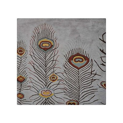 Angelina Contemporary Hand-Tufted Wool Silver Area Rug Rug Size: Round 6