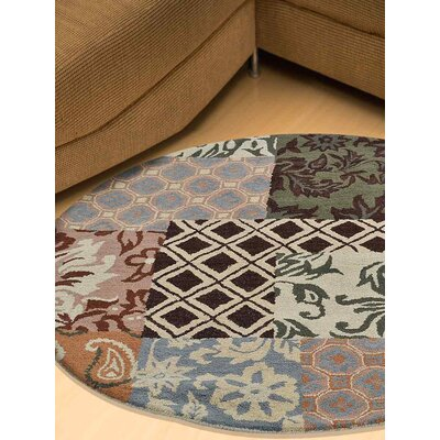 Kia Hand-Tufted Wool Beige/Black/Blue Area Rug Rug Size: Round 5