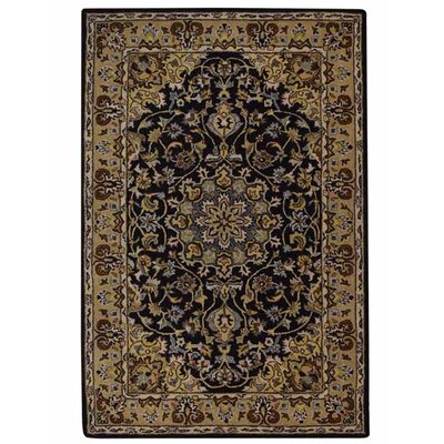 Addieville Vintage Hand-Tufted Wool Black/Gold Area Rug
