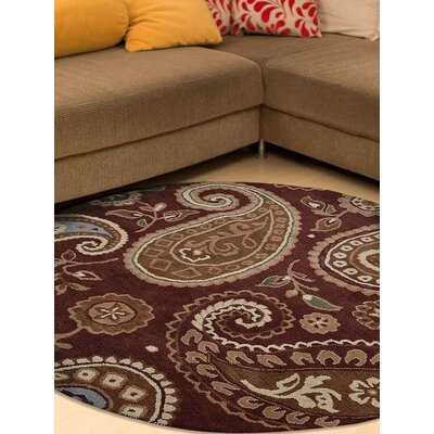 Kia Hand-Tufted Wool Brown Area Rug Rug Size: Round 5