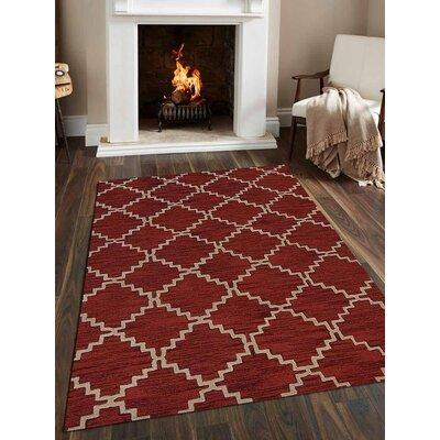 Bilbrey Hand-Tufted Wool Red/Beige Area Rug
