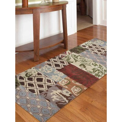 Kia Hand-Tufted Wool Beige/Black/Blue Area Rug Rug Size: Runner 26 x 10