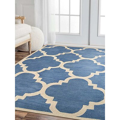 Bickerstaff Hand-Tufted Wool Blue/Beige Area Rug
