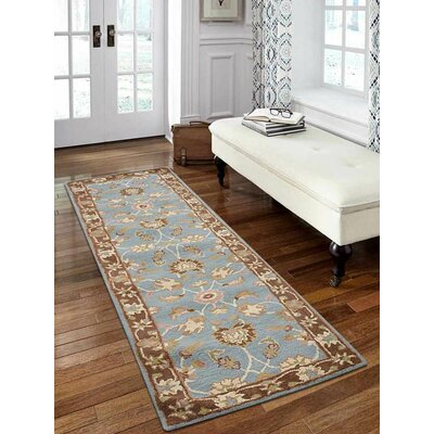 Mazzariello Vintage Hand-Woven Wool Blue/Brown Area Rug Rug Size: Runner 26 x 10