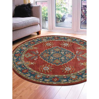 Louis Vintage Hand-Tufted Wool Red/Blue Area Rug