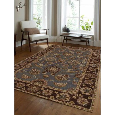 Mazzariello Vintage Hand-Woven Wool Blue/Brown Area Rug Rug Size: Rectangle�10 x 13