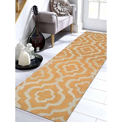 Lucero Hand-Tufted Wool Gold/White Area Rug Rug Size: Runner 2 6 x 10