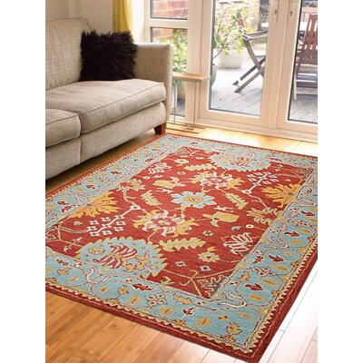 Corine Hand-Tufted Wool Red/Blue Area Rug
