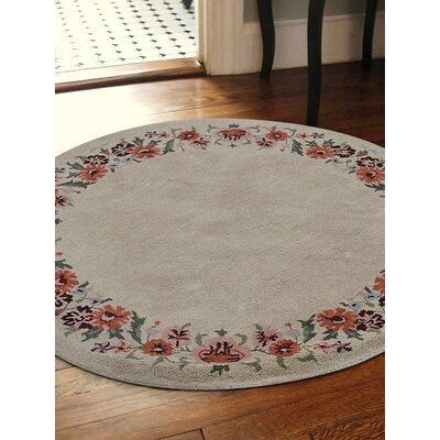 London Floral Hand-Tufted Wool Cream Area Rug Rug Size: Round 8'