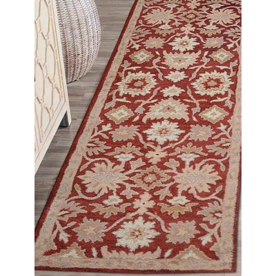 Bay City Vintage Hand-Tufted Wool Red/Beige Area Rug Rug Size: Runner 2'6
