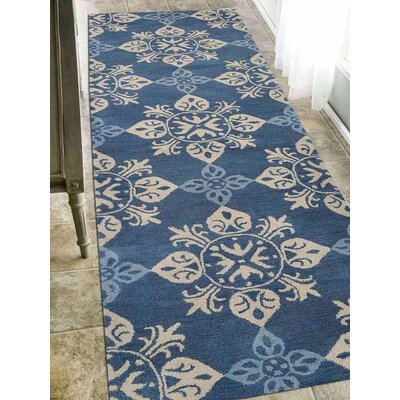 Beauchamp Square Floral Hand-Tufted Wool Blue Area Rug Rug Size: Runner 26 x 8