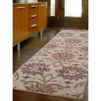 Karlie Hand-Tufted Wool Cream Area Rug Rug Size: Runner 26 x 8