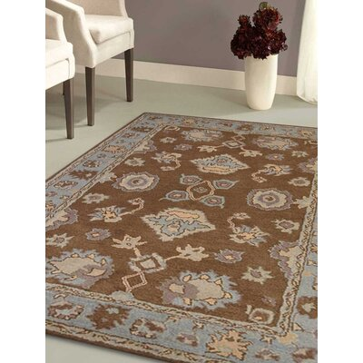 Abraham Vintage Hand-Tufted Wool Brown/Light Blue Area Rug