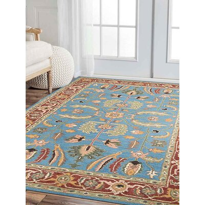 Acres Vintage Hand-Tufted Wool Blue/Red Area Rug