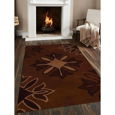 Corrine Hand-Tufted Wool Brown Area Rug
