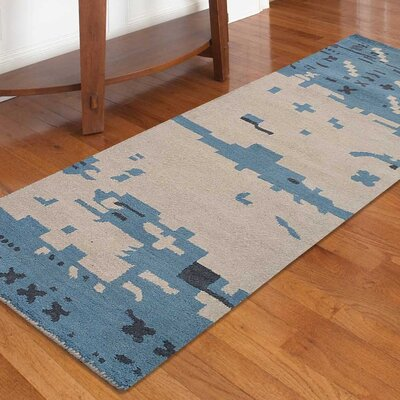 Jaimie Contemporary Hand-Tufted Wool Beige/Blue Area Rug Rug Size: Runner 26 x 8