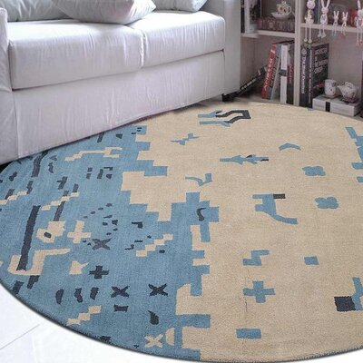 Jaimie Contemporary Hand-Tufted Wool Beige/Blue Area Rug Rug Size: Round 8