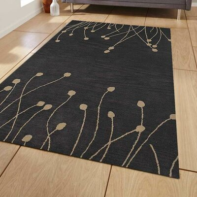 Shelbie Floral Hand-Tufted Wool Gray/White Area Rug Rug Size: 4 x 6