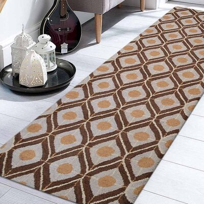 Billerica Hand-Tufted Wool Beige/Brown Area Rug Rug Size: Runner 26 x 8