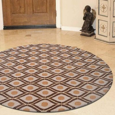 Billerica Hand-Tufted Wool Beige/Brown Area Rug Rug Size: Round 8