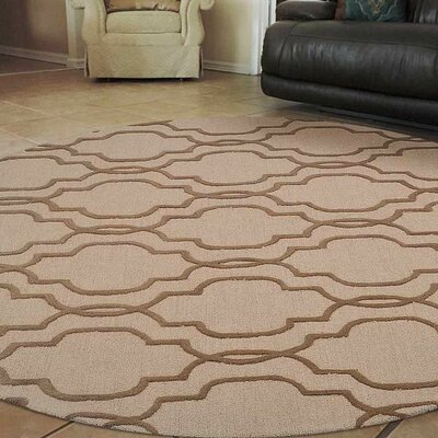 Angeles Hand-Tufted Wool Light Gold/Brown Area Rug Rug Size: Round 8