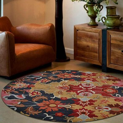 Anglin Floral Hand-Tufted Wool Gold/Black Area Rug Rug Size: Round 8