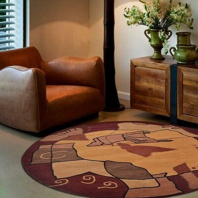 Annie Contemporary Hand-Tufted Wool Brown Area Rug Rug Size: Round 8