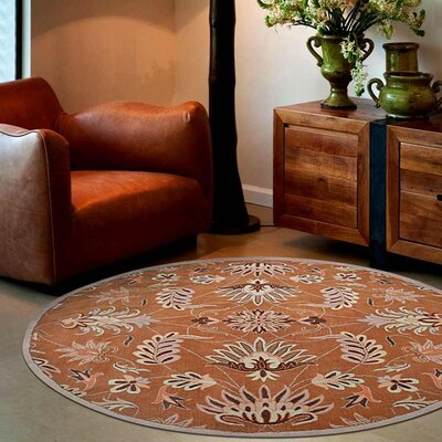 Crane Hand-Tufted Wool Orange Area Rug Rug Size: Round 8