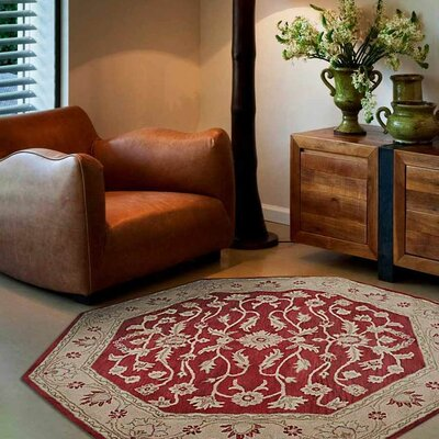 Morley Hand-Woven Wool Red/Gold Area Rug Rug Size: Octagon 8