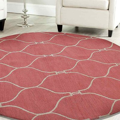 Kayo Hand-Tufted Wool Light Red Area Rug Rug Size: Round 8