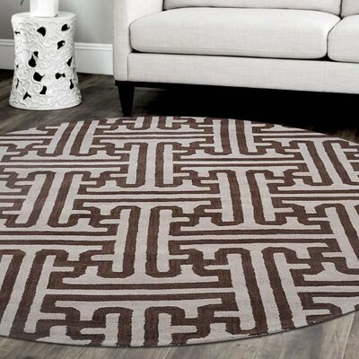 Aristomache Hand-Tufted Wool Cream/Brown Area Rug Rug Size: Round 8