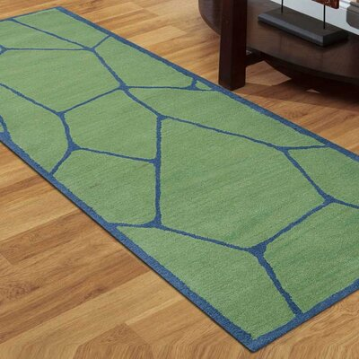 Arius Hand-Tufted Wool Green Area Rug Rug Size: Runner 26 x 8