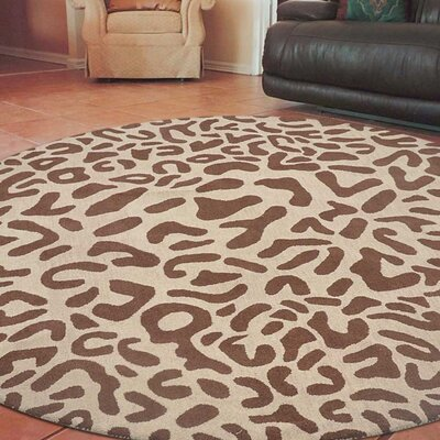 Boyer Hand-Tufted Wool Camel/Brown Area Rug Rug Size: Round 8