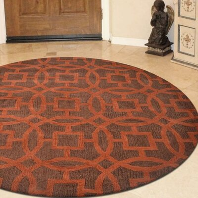 Bradford Hand-Woven Wool Brown/Orange Area Rug Rug Size: Round 8