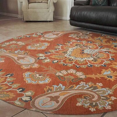 Kalyn Hand-Tufted Wool Orange Area Rug Rug Size: Round 8
