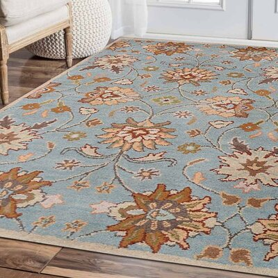 Kiley Hand-Tufted Wool Light Blue Area Rug Rug Size: 9 x 12
