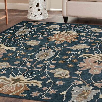 Yessenia Hand-Tufted Wool Blue Area Rug Rug Size: Square 6