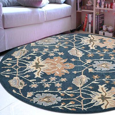 Yessenia Hand-Tufted Wool Blue Area Rug Rug Size: Round 5