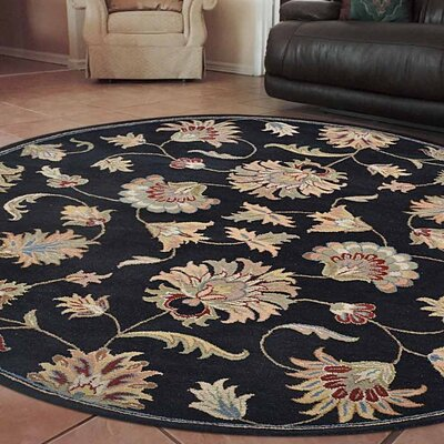 Alycia Hand-Tufted Wool Black Area Rug Rug Size: Round 8