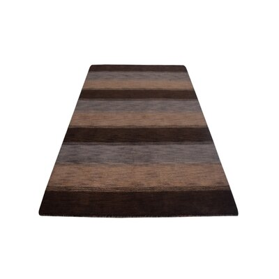 Ry Hand Knotted Loom Wool Dark BrownBeige Area Rug