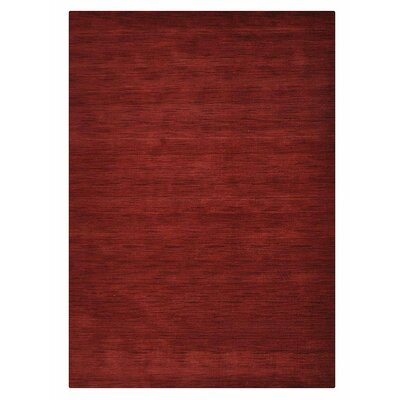 Ry Hand Knotted Loom Rectangle Wool Dark Red Area Rug Rug Size: 3 x 5