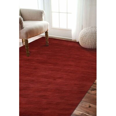 Riggio Hand-Knotted Wool Dark Red Area Rug Rug Size: Rectangle 8 x 10