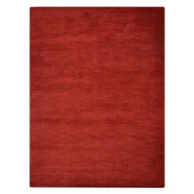Ceniceros Solid Hand-Knotted Rectangle Wool Red Area Rug Rug Size: 5 x 8