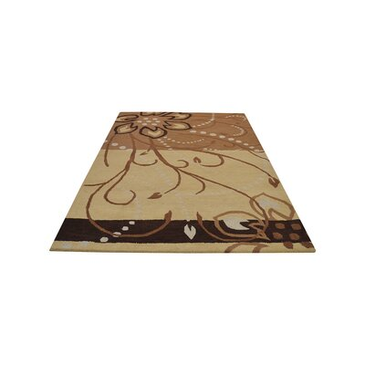 Jasmine Contemporary Hand Tufted Wool Light Brown Area Rug Rug Size: 5 x 8