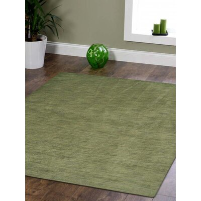 Ceniceros Solid Hand-Knotted Wool Green Area Rug Rug Size: Square 10