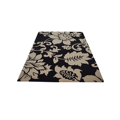 Kinkade Floral Hand Tufted Wool Black/Cream Area Rug