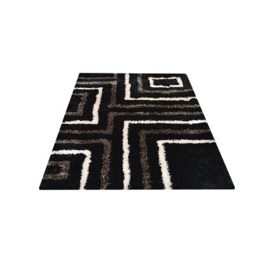 Patti Abstract Hand Tufted Black Area Rug Rug Size: 8 x 10