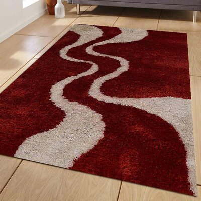 Lisse Abstract Hand Tufted Red/White Area Rug Rug Size: 8 x 10