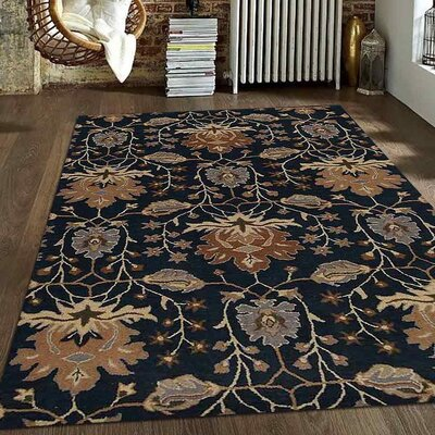 Kirchner Floral Hand Tufted Wool Blue Area Rug Rug Size: 8 x 10